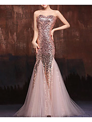 cheap -Mermaid / Trumpet Sparkle Pink Engagement Formal Evening Dress Sweetheart Neckline Floor Length Tulle Sequined with Sequin 2020