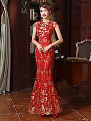 abordables -Adulte Femme Conçu en Chine Style Chinois Taille de guêpe Cheongsam Pour Utilisation Soirée de Fiançailles Enterrement de Vie de Jeune Fille Coton Long Cheongsam
