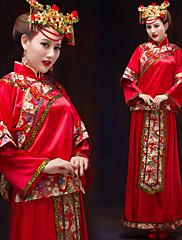 abordables -Adulte Femme Conçu en Chine Style Chinois Taille de guêpe Cheongsam Pour Utilisation Soirée de Fiançailles Enterrement de Vie de Jeune Fille Térylène Long Cheongsam