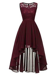 cheap -A-Line Hot Red Wedding Guest Cocktail Party Dress Jewel Neck Sleeveless Asymmetrical Chiffon Lace with Pleats Lace Insert 2020