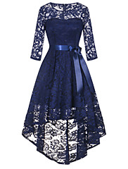cheap -A-Line Elegant Vintage Inspired Homecoming Prom Dress Jewel Neck 3/4 Length Sleeve Asymmetrical Ankle Length Lace with Sash / Ribbon 2020