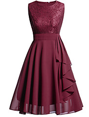 cheap -Back To School A-Line Hot Red Holiday Homecoming Dress Jewel Neck Sleeveless Knee Length Chiffon Lace with Draping Lace Insert 2020 Hoco Dress