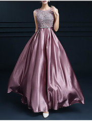 cheap -A-Line Empire Pink Engagement Formal Evening Dress Jewel Neck Sleeveless Floor Length Satin with Bow(s) Appliques 2020