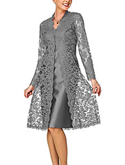 cheap -Two Piece Elegant Grey Wedding Guest Cocktail Party Dress Scoop Neck Long Sleeve Knee Length Lace Polyester with Lace Insert 2020