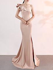 cheap -Mermaid / Trumpet Elegant Pink Engagement Formal Evening Dress One Shoulder Sleeveless Sweep / Brush Train Satin with Ruffles Split 2020