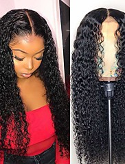 voordelige -Echt haar Onverwerkt maagd haar 13x6 Sluiting Pruik Gratis deel stijl Braziliaans haar Kinky Curly Naturel Pruik 150% Haardichtheid Feest Klassiek sexy Lady Dik Dames Lang Cosplay Kostuums Teaparty