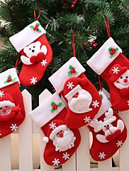 abordables -santa muñeco de nieve colgante adornos de navidad año nuevo calcetines de copo de nieve decoraciones de navidad para el hogar feliz árbol de navidad decor-6pcs