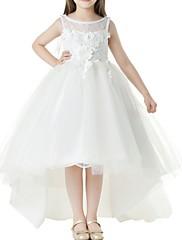 abordables -Salón Asimétrica Primera Comunión Vestidos de niña de las flores - Poliéster Sin Mangas Joya con Apliques