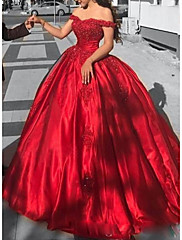 cheap -Ball Gown Luxurious Red Quinceanera Formal Evening Dress Off Shoulder Short Sleeve Chapel Train Lace Satin with Appliques 2020