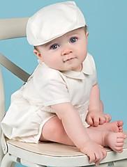 abordables -Pantalón Hasta el Suelo Primera Comunión Vestidos de bautizo - Poliéster Manga Corta Joya con Plisado