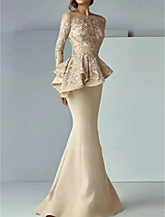 cheap -Mermaid / Trumpet Peplum Gold Wedding Guest Formal Evening Dress Illusion Neck Long Sleeve Sweep / Brush Train Satin with Lace Insert 2020
