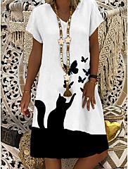 cheap -Women's Shift Dress Knee Length Dress - Short Sleeve Butterfly Cat Animal Summer V Neck Casual Daily 2020 White M L XL XXL XXXL