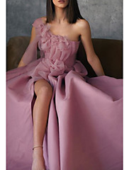 cheap -A-Line Floral Pink Prom Formal Evening Dress One Shoulder Sleeveless Floor Length Stretch Satin with Appliques Split Front 2020