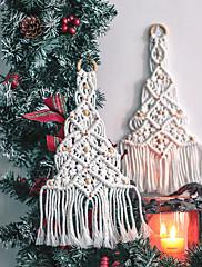 abordables -Tapiz de decoración del hogar creativo 100% algodón hecho a mano bohemio tapiz de árbol de navidad adornos para el hogar regalo de navidad