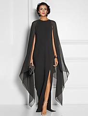 cheap -Sheath / Column Elegant Black Wedding Guest Formal Evening Dress Jewel Neck Sleeveless Floor Length Chiffon with Draping Split Front 2020