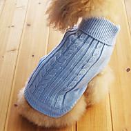 Kat Hund Gensere Vinter Hundeklær Lyseblå Kostume Bomull Ensfarget XS S M L XL