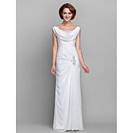 billiga -mantel / kolonn mor till brudklänningen vintage inspirerad halsringning golvlängd chiffong ärmlös med knappar criss cross kristaller 2020 mor till brudgummen klänningar