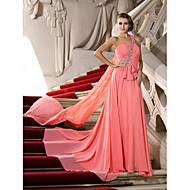 A-Line One Shoulder Court Train Chiffon Open Back Prom / Formal Evening Dress with Bow(s) / Crystals by TS Couture®
