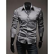 abordables -Hombre Diario Tallas Grandes Camisa Un Color Manga Larga Delgado Tops Casual Cuello Inglés Blanco Negro Gris / Primavera / Otoño