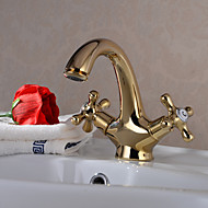 Bathroom Sink Faucet - Rotatable Ti-PVD Centerset One Hole / Two Handles One HoleBath Taps
