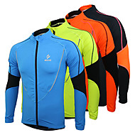 Arsuxeo Men's Cycling Jersey / Cycling Jacket Bike Jersey / Top Thermal / Warm, Fleece Lining, Breathable Patchwork Polyester, Fleece Winter Orange / Green / Blue Road Cycling Relaxed Fit Bike Wear
