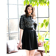 Women's Going out Sophisticated Skater Dress,Print Round Neck Knee-length Half Sleeves Polyester Summer High Rise Inelastic Thin