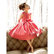 tanie -Księżniczka / Krój A Lekko nad kolana Korowód Suknie Flower Girl - Satyna Krótki rękaw Zaokrąglony z Kokardki
