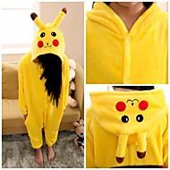 Kid's Kigurumi Pajamas Pika Pika Animal Onesie Pajamas Flannel Toison Yellow Cosplay For Boys and Girls Animal Sleepwear Cartoon Festival / Holiday Costumes