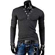 Χαμηλού Κόστους -Ανδρικά Καθημερινά Μεγάλα Μεγέθη T-shirt Μονόχρωμο Μακρυμάνικο Λεπτό Άριστος Στρογγυλή Λαιμόκοψη Σκούρο γκρι Ανοιχτό Γκρι / Αθλητικά