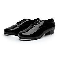 cheap -Men's Dance Shoes Faux Leather Tap Shoes Lace-up Split Sole Low Heel Non Customizable Black / EU38
