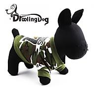 قط كلب هوديس ملابس الكلاب مموه أخضر قطن كوستيوم من أجل ربيع & الصيف