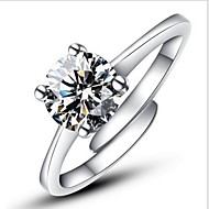 Women's Statement Ring Engagement Ring wrap ring Silver Sterling Silver Imitation Diamond Four Prongs Ladies Classic Fashion Wedding Party Jewelry Solitaire Round Cut Simulated Love Adjustable