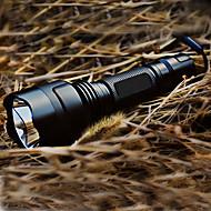 LED懐中電灯 LED Cree XR-E Q5 200 lm 5 照明モード バッテリー&チャージャー付き ミリタリー, 充電式 キャンプ / ハイキング / ケイビング ブラック