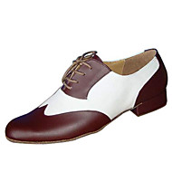 cheap -Men's Dance Shoes Leather / Leatherette Ballroom Shoes / Swing Shoes Oxford / Heel Low Heel Customizable Black and White