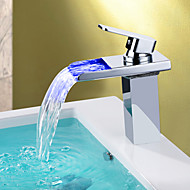 Contemporary Centerset Waterfall LED Ceramic Valve One Hole Single Handle One Hole Chrome , Bathroom Sink Faucet