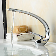 Contemporary Centerset Ceramic Valve One Hole Single Handle One Hole Chrome , Bathroom Sink Faucet Bath Taps