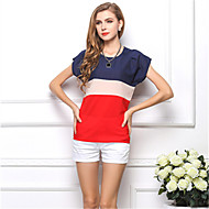 Women's Daily Weekend Plus Size Blouse - Color Block Patchwork Red / Summer