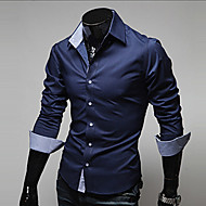 Men's Daily Work Business Plus Size Slim Shirt - Solid Colored Basic Classic Collar Navy Blue / Long Sleeve / Spring / Fall