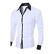 abordables -Hombre Diario Camisa Un Color Manga Larga Tops Negocios Blanco Negro Azul / Primavera / Otoño / Trabajo