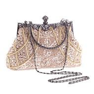povoljno -Žene Umjetni biser / Crystal / Rhinestone Poliester Večernja torbica Kristalne vrećice od kristalnog kamena Geometrijski oblici Svjetlosmeđ / Crna / Zlatna