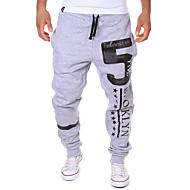 Men's Active / Basic Casual Sports Weekend Loose / Active / Relaxed Pants - Letter Black Dark Gray Light gray L XL XXL