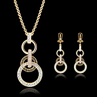 Party Cubic Zirconia Rose Gold Plated Earrings Jewelry Gold For Party Birthday Engagement Gift / Necklace