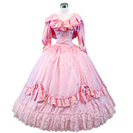 Queen Victoria Gothic Lolita Rococo Baroque Dress Women's Girls' Lace Satin Japanese Cosplay Costumes Plus Size Customized Pink Ball Gown Solid Colored Poet Sleeve Long Sleeve Long Length / Victorian
