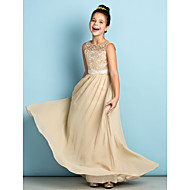 A-Line Scoop Neck Floor Length Chiffon / Lace Junior Bridesmaid Dress with Lace by LAN TING BRIDE® / Natural / Mini Me