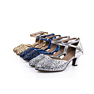 Women's Dance Shoes Sparkling Glitter / Paillette / Synthetic Modern Shoes / Ballroom Shoes Sequin / Lace-up / Hollow-out Sandal / Heel / Sneaker Cuban Heel Non Customizable Silver / Blue / Gold