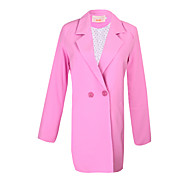 Women's Solid Color Pink / White / Green Suits & Blazers , Casual Pan Collar Long Sleeve