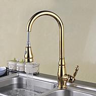 robinet de bucatarie - un singur mâner o gaură ti-pvd pull-out / pull-down punte montat tradiționale