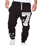 abordables -Hombre Activo Básico Casual Deportes Fin de semana Corte Ancho Activo Holgado Pantalones de Deporte Pantalones Letra Estampado Blanco Negro Gris M L XL