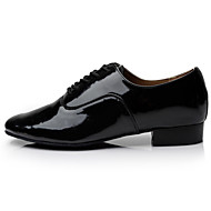 cheap -Men's Latin Shoes / Ballroom Shoes PU Lace-up Heel Lace-up Chunky Heel Non Customizable Dance Shoes Black / White / Indoor / Performance / EU41