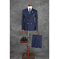 Ink Blue Checkered / Gingham Tailored Fit Polyester Suit - Notch Double Breasted Four-buttons / Suits